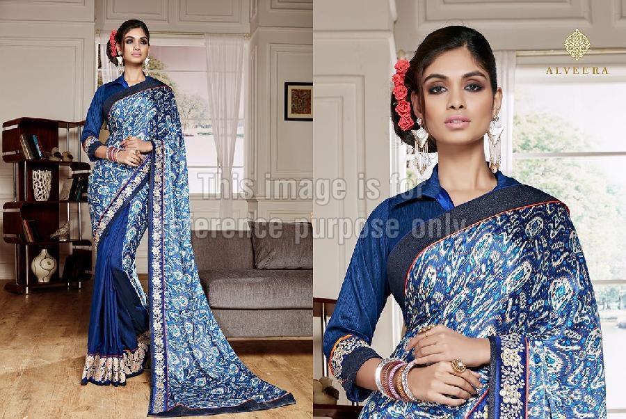 Printed Navy Blue Crepe Satin Saree