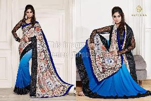 Royal Blue Printed Embroidered Saree With Net Blouse