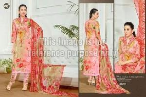 Floral Print Pink Coloured Suit With Dupatta
