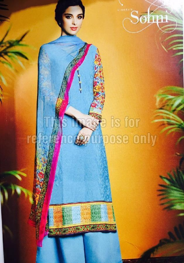 Deep Sky Blue Coloured Printed Suit With Dupatta
