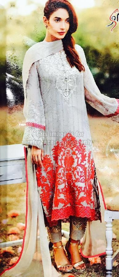 Embroidered Party Wear Pure Georgette Suit