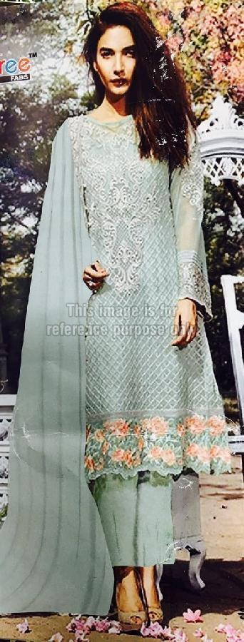 Embroidered Dark Grey Pure Georgette Suit