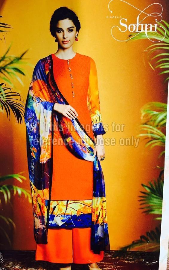 Orange Coloured Simple Suit With Printed Dupatta