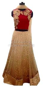 Red Colored Crop Top with Net Skirt and Dupatta