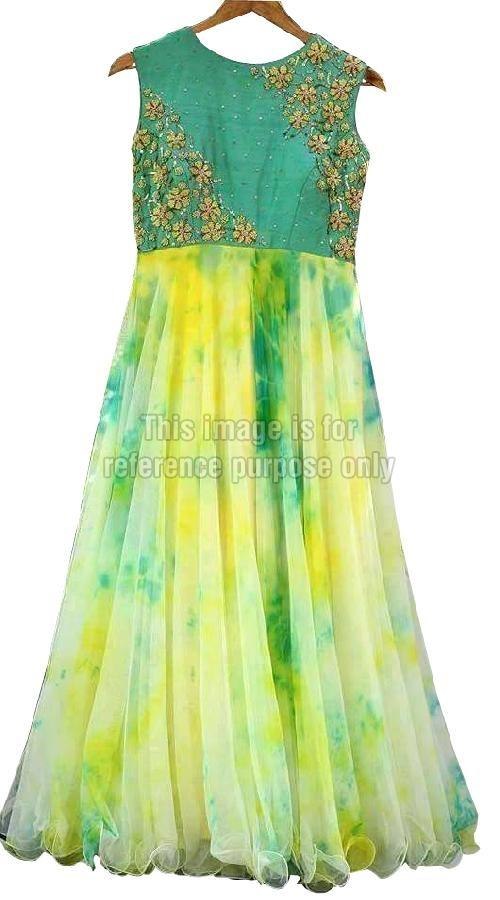 Sleeveless Green Colored Frilled Dress