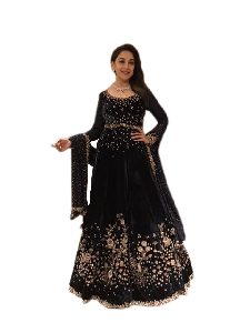 Floor Length Embroidered Anarkali Suit with Dupatta