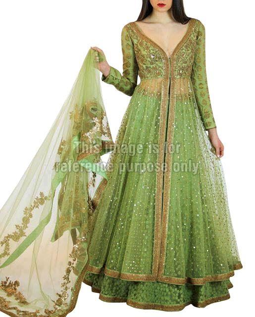 Light Green Colored Anarkali Suit with Dupatta