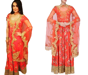 Orange Coloured Floral Printed & Embroidered Anarkali Suit