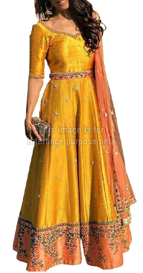 Raw Silk Long Suit with Matching Dupatta