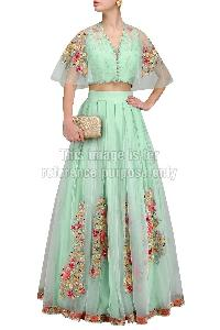 Sea Green Colored Crop Top with Matching Skirt
