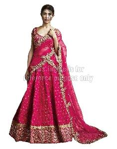 Dark Red Colored Lehenga Saree with Blouse