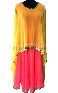 Brink Pink Colored Skirt with Matching Blouse and Poncho