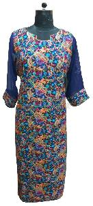 Embroidered Kurti with Semi Sleeves