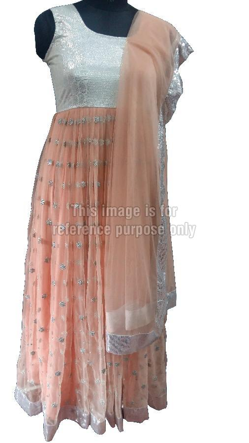 Peach Coloured Net Suit with Dupatta