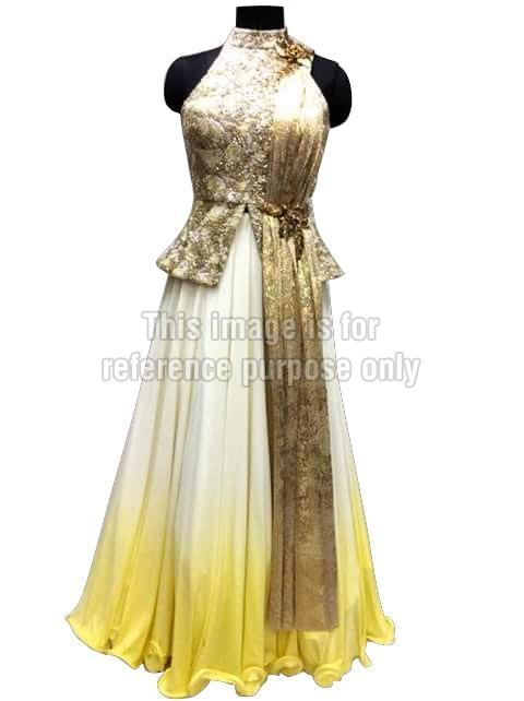 Golden Coloured Shimmery Top with Long Skirt