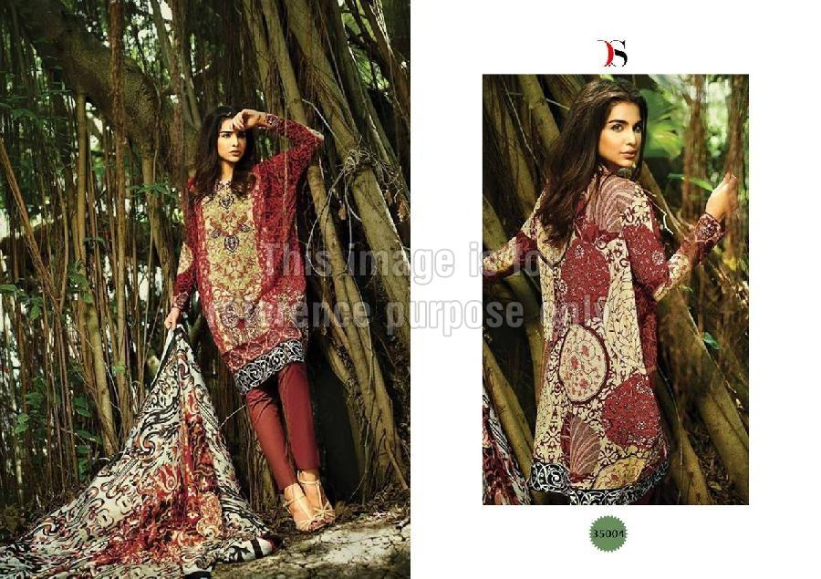 Mehroon Coloured Printed & Embroidered Pashmina Suit