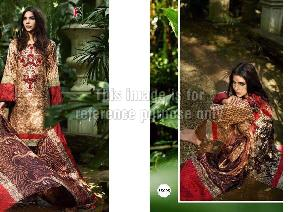 Red & Beige Coloured Pure Pashmina Suit