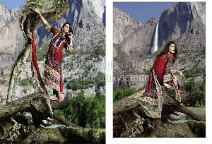 Red Coloured Printed Pashmina Suit