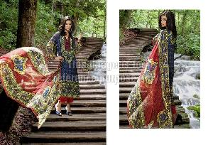 Tri Coloured  Printed Pashmina Suit