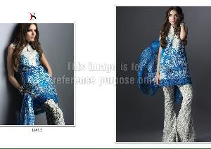 White and Blue Printed Kurti with Palazzo and Dupatta