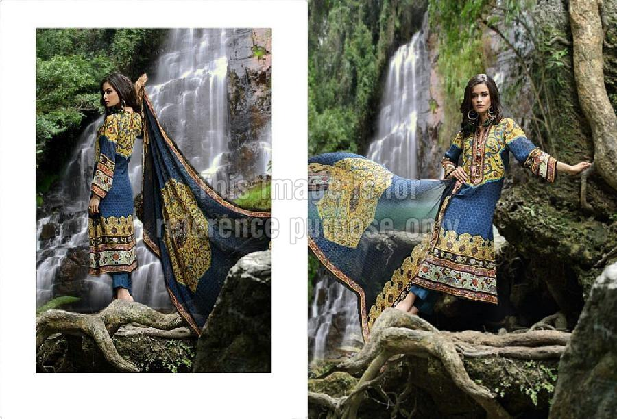 Yellow & Blue Coloured Pashmina Suit