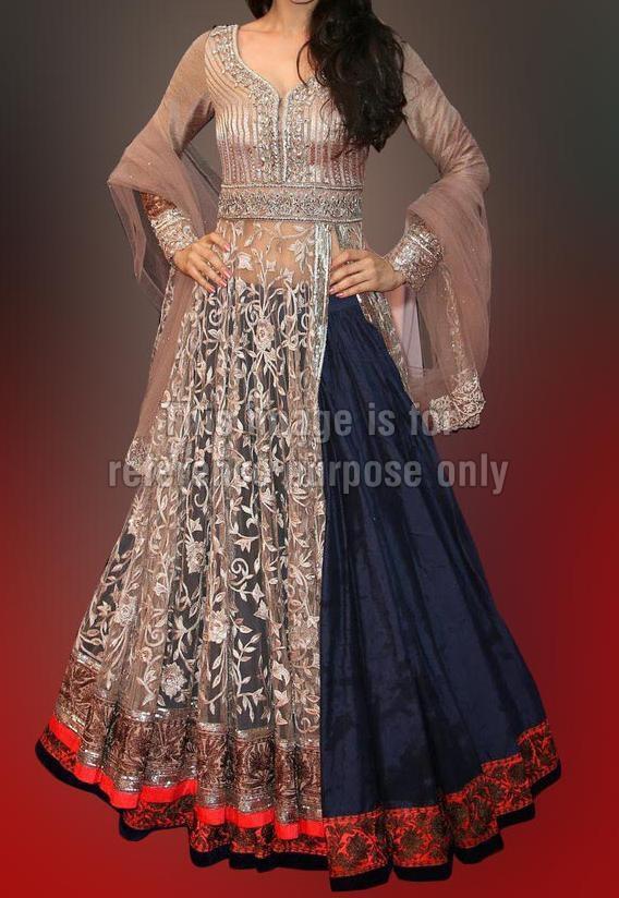 Amisha Patel Cream And Blue Anarkali Suit