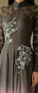 Grey And Pink Georgette