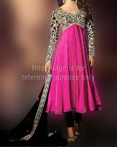 Priyanka Chopra Black and Magenta Anarkali Suit