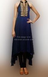 Royal Blue Collared Sleeveless Kurti