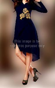 Royal Blue Full Sleeves Tail Style Kurti