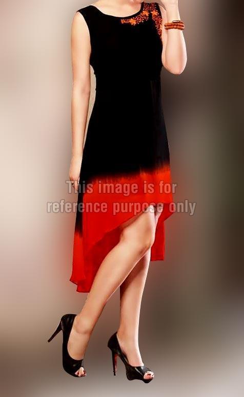 Tail Style Black Orange Kurti