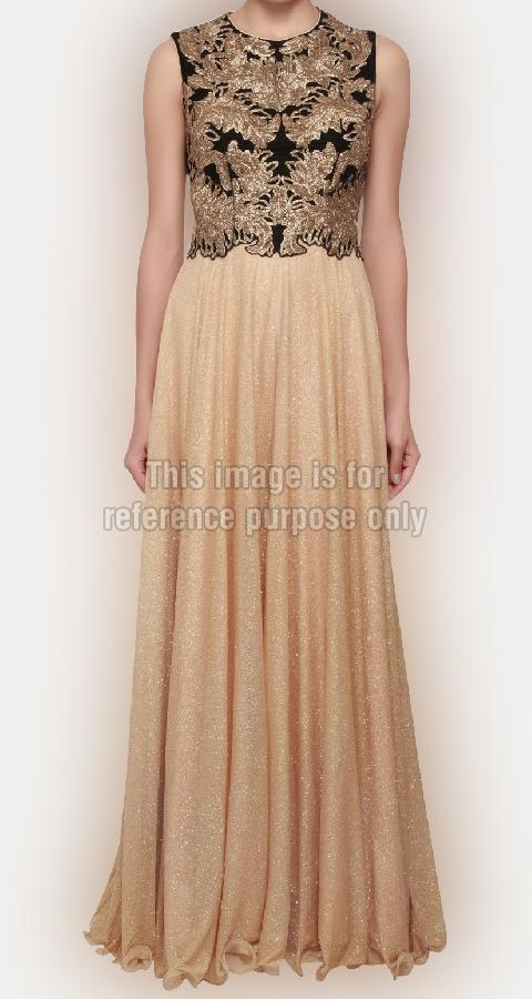 Beautiful Gown In Gold Shimmer Lycra