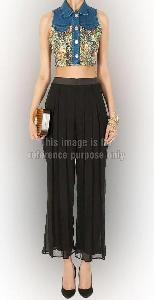 Collared Crop Top with Pleated Palazzo