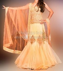 Coral Pink Fusion Wear with Beautiful Frill