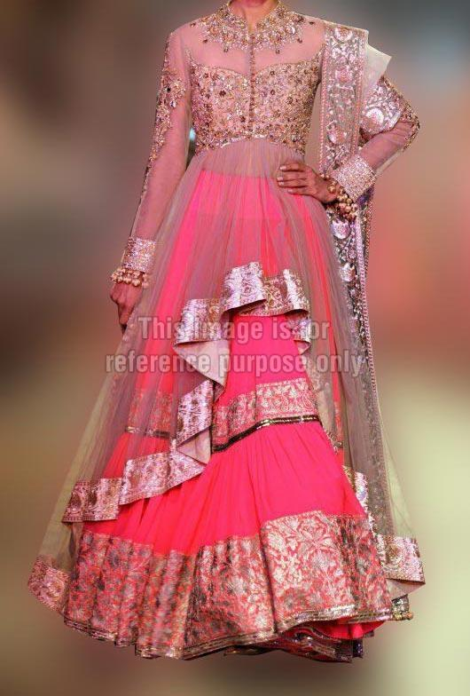 Heavy Work Pink Combination Dress with Dupatta