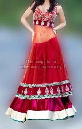 Red Color Sleeveless Ghaghra