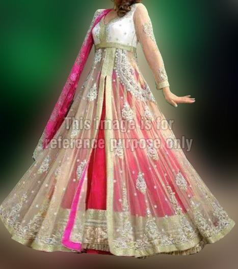 Elegant Net Frill Dress with Dupatta