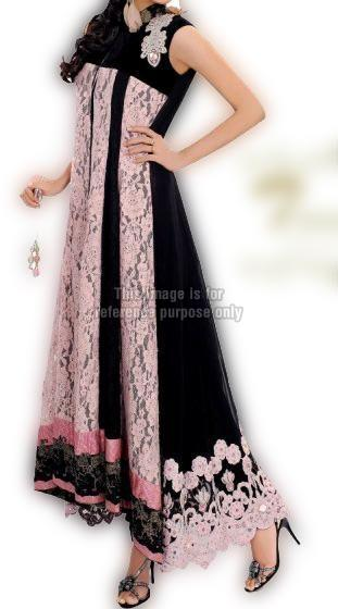 Pink Black Jali Work Dress