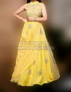 Yellow Net Embroidered Dress
