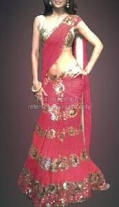 Rose Pink Shimmer Saree