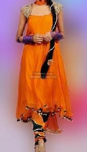 Orange Mega Sleeves Anarkali Suit