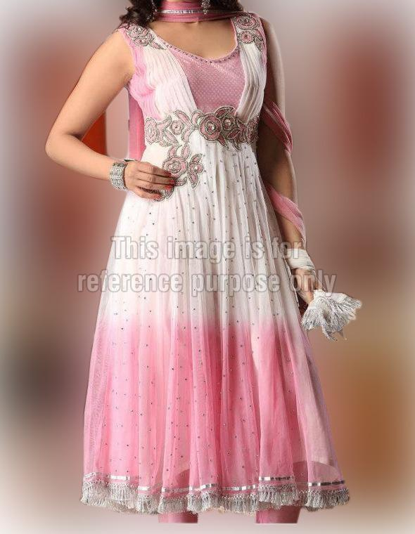Baby Pink and White Sleeveless Anarkali Suit