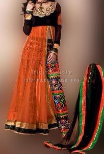 orange and black designer suit