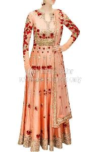 peach silk anarkali suit