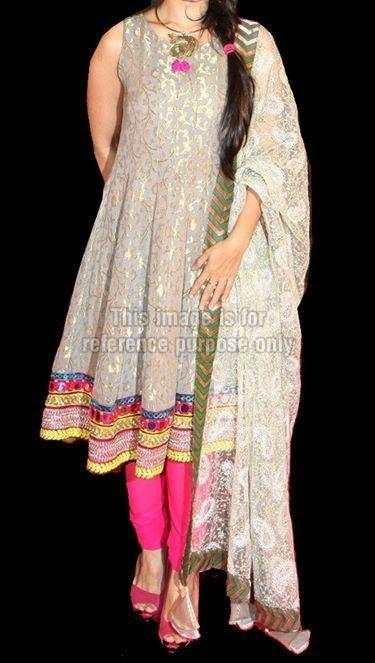 White and pink brocade frock suit