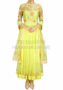 lime green summer cooler anarkali
