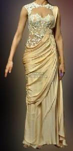 Deepika Cream Designer Saree Gown