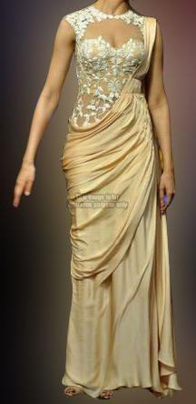 Deepika Cream Designer Saree Gown