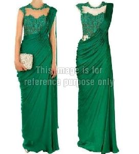 Chic Fern Green Sleeve Less Saree