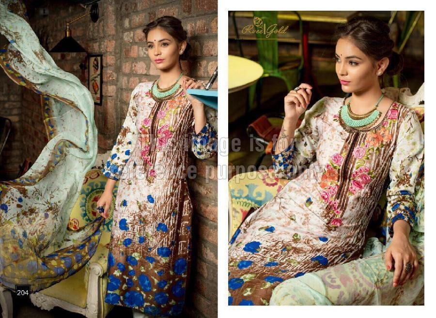 Embroidered Rveel Gold Off White Suit